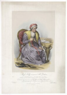Frances ('Fanny') Maria Kelly as Mrs Parthian, by Francis William Wilkin, printed by  Graf & Soret, published by  Ackermann & Co - NPG D36779