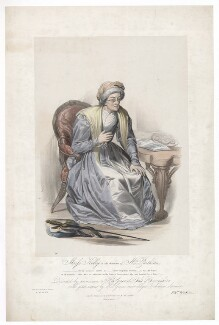 Frances ('Fanny') Maria Kelly as Mrs Parthian, by Francis William Wilkin, printed by  Graf & Soret, published by  Ackermann & Co - NPG D36781