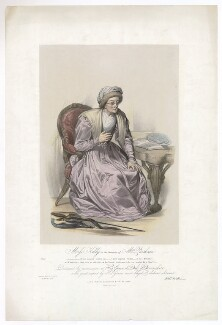 Frances ('Fanny') Maria Kelly as Mrs Parthian, by Francis William Wilkin, printed by  Graf & Soret, published by  Ackermann & Co - NPG D36784