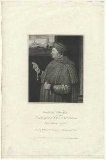 Thomas Wolsey, by Robert Cooper, published by  Lackington, Hughes, Harding, Mavor & Jones, published by  Longman, Hurst, Rees, Orme & Brown, after  William Hilton, after  Hans Holbein the Younger - NPG D37006