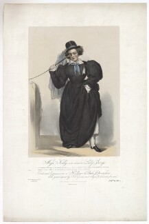 Frances Maria Kelly as Lady Savage, by Francis William Wilkin, printed by  Graf & Soret, published by  Ackermann & Co - NPG D36787
