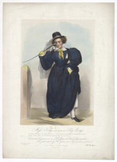 Frances Maria Kelly as Lady Savage, by Francis William Wilkin, printed by  Graf & Soret, published by  Ackermann & Co - NPG D36790