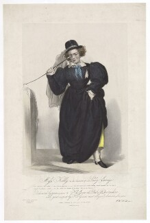 Frances Maria Kelly as Lady Savage, by Francis William Wilkin, printed by  Graf & Soret, published by  Ackermann & Co - NPG D36791