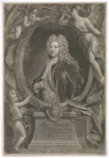Sir Godfrey Kneller, Bt, by John Faber Jr, printed and sold by  Robert Sayer, printed and sold by  John King, after  John Vanderbank, after  Sir Godfrey Kneller, Bt - NPG D36900