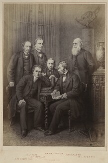 'Authors' (John Stuart Mill; Charles Lamb; Charles Kingsley; Herbert Spencer; John Ruskin; Charles Darwin), published by Hughes & Edmonds, published 1876 - NPG Ax132900 - © National Portrait Gallery, London