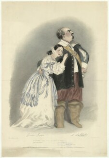 Giulia Grisi as Elvira; Luigi Lablache as Sir Georgio in Bellini's 'I Puritani', by Richard James Lane, printed by  Graf & Soret, published by  John Mitchell, published by  Rittner & Goupil, after  Alfred Edward Chalon - NPG D37126