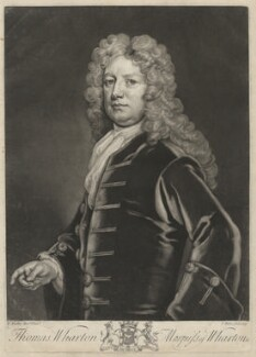 Thomas Wharton, 1st Marquess of Wharton, by John Faber Jr, after  Sir Godfrey Kneller, Bt - NPG D37539