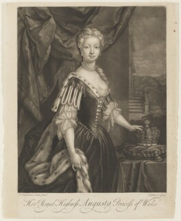 Augusta of Saxe-Gotha, Princess of Wales, by J. Johnson, after  F. Huysman, before 1736 - NPG D10942 - © National Portrait Gallery, London