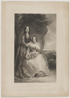 The Right Honble Lady Foley and The Right Honble The Lady Adeliza Howard, by Samuel William Reynolds, published by  Paul and Dominic Colnaghi & Co, after  Sir Francis Grant - NPG D36996