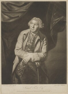 Samuel Foote, by Thomas Blackmore, published by  William Wynne Ryland, after  Sir Joshua Reynolds - NPG D37708