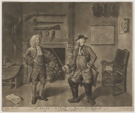 Mr Foote in the Character of Major Sturgeon in the Mayor of Garrat (Mr Hayes; Samuel Foote), by John Gottfried Haid, published by  John Boydell, after  Johan Joseph Zoffany - NPG D37711
