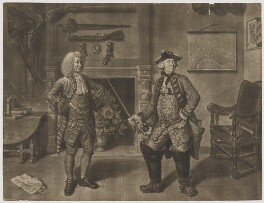 Mr Foote in the Character of Major Sturgeon in the Mayor of Garrat (Mr Hayes; Samuel Foote), by John Gottfried Haid, published by  John Boydell, after  Johan Joseph Zoffany - NPG D37714