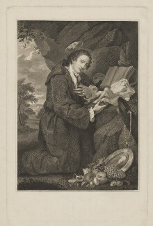 'Sir Francis Dashwood worshipping Venus', by William Platt, after  William Hogarth - NPG D37234