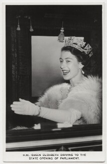 Queen Elizabeth II, possibly by Charles James Dawson, for  Central Press, published by  James Valentine & Sons Ltd - NPG x132905