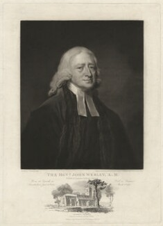 John Wesley with a view of Epworth Church, by William Ward, published by  Thomas Roberts, after  John Jackson, after  George Romney - NPG D37653