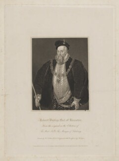 Robert Dudley, 1st Earl of Leicester, by Robert Cooper, published by  Lackington, Hughes, Harding, Mavor & Jones, published by  Longman, Hurst, Rees, Orme & Brown, after  William Hilton, after  Sir William Segar - NPG D37267