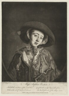 Sophia Weston, by John Raphael Smith, published by  Mary Ashley (née Wickstead), formerly Mrs Worlidge, after  Thomas Worlidge - NPG D37837