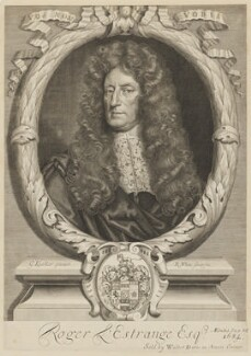 Sir Roger L'Estrange, by Robert White, after  Sir Godfrey Kneller, Bt - NPG D37306