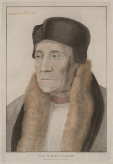 William Warham, by Francesco Bartolozzi, published by  John Chamberlaine, after  Hans Holbein the Younger - NPG D37499