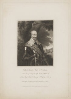 Robert Bertie, 1st Earl of Lindsey, by Edward Scriven, published by  Harding & Lepard, after  William Derby, after  Sir Anthony van Dyck - NPG D37345