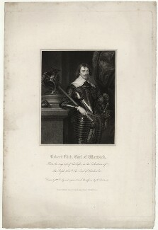 Robert Rich, 2nd Earl of Warwick, by John Henry Robinson, published by  Harding & Lepard, after  William Derby, after  Sir Anthony van Dyck - NPG D37867