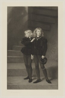 The Princes in the Tower (Richard, Duke of York and Duke of Norfolk; King Edward V), by Samuel Cousins, published by  Fine Art Society Ltd, after  Sir John Everett Millais, 1st Bt - NPG D38019