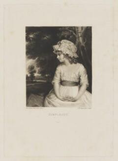 Theophila Lowther (née Gwatkin) ('Simplicity'), by Samuel William Reynolds, after  Sir Joshua Reynolds - NPG D37471