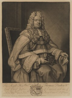 Thomas Parker, 1st Earl of Macclesfield, by Francis Kyte, sold by  Edward Cooper, after  Sir Godfrey Kneller, Bt, 1714 (1712) - NPG D38068 - © National Portrait Gallery, London