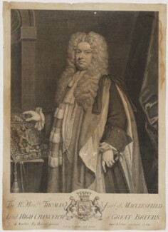 Thomas Parker, 1st Earl of Macclesfield, by George Vertue, sold by  Edmund Parker, sold by  Jacob Tonson II, after  Sir Godfrey Kneller, Bt - NPG D38070