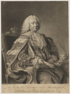 George Parker, 2nd Earl of Macclesfield, by John Faber Jr, after  Thomas Hudson - NPG D38071