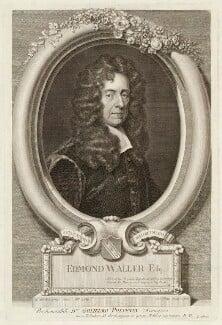 Edmund Waller, by George Vertue, after  Sir Godfrey Kneller, Bt - NPG D38015