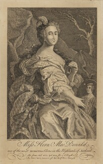 Flora Macdonald with oval portrait of Prince Charles Edward Stuart, by Johnson, after  Le Clerc (Clare), (1747) - NPG D38082 - © National Portrait Gallery, London