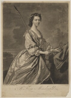 Flora Macdonald with miniature of Prince Charles Edward Stuart, by John Faber Jr, sold by  George Strahan, after  Thomas Hudson, late 1740s-early 1750s (1747) - NPG D38083 - © National Portrait Gallery, London
