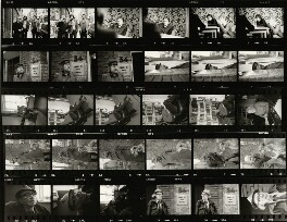 Contact sheet including Jeffrey Barnard; Martin Tompkinson; Richard Ingrams; Dudley Moore; Peter Cook; Willie Rushton; Malcolm Muggeridge; Auberon Waugh; Francis Claud Cockburn, by Eric Hands - NPG x133201