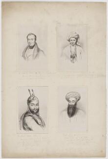 Sir William Hay Macnaghten, Bt; Sir Alexander Burnes; Akbar Khan (Mahomed Akber Khan); Shah Shooja-ool-Moolk, by Lowes Cato Dickinson - NPG D38122