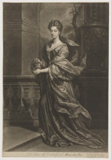 Dodington Montagu (née Greville), Duchess of Manchester, by John Faber Jr, printed and sold by  Robert Sayer, printed and sold by  John King, after  Sir Godfrey Kneller, Bt - NPG D38185