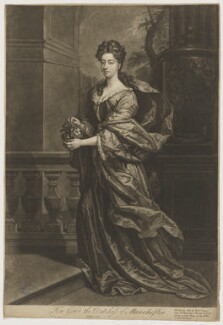 Dodington Montagu (née Greville), Duchess of Manchester, by John Faber Jr, printed and sold by  Robert Sayer, printed and sold by  John King, after  Sir Godfrey Kneller, Bt - NPG D38186