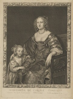 Margaret Montagu (née Russell), Countess of Manchester with an unknown daughter, by and published by Pierre Lombart, after  Sir Anthony van Dyck - NPG D38190