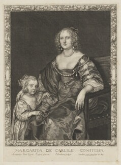 Margaret Montagu (née Russell), Countess of Manchester with an unknown daughter, by and published by Pierre Lombart, after  Sir Anthony van Dyck - NPG D38191