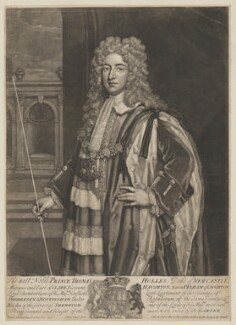 Thomas Pelham-Holles, 1st Duke of Newcastle-under-Lyne, by and sold by John Faber Jr, after  Sir Godfrey Kneller, Bt, (circa 1720) - NPG D38722 - © National Portrait Gallery, London
