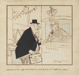 Sir Waldron Smithers; Herbert Stanley Morrison, Baron Morrison of Lambeth, by Ronald Searle, 1951 - NPG  -