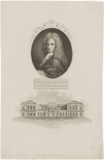 Sébastien Vaillant with 'A View of the Palais Royale', by James Hopwood Sr, after  Aubnet, and probably by  John Roffe, after  Surant, published by  Robert John Thornton - NPG D38532