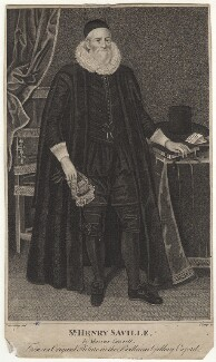 Sir Henry Saville, by R. Clamp, after  Marcus Gheeraerts the Younger - NPG D38542