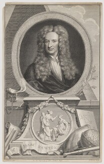 Sir Isaac Newton, by Jacobus Houbraken, after  Sir Godfrey Kneller, Bt - NPG D38741