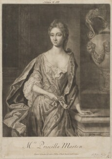 Priscilla Marten, by and published by John Faber Sr, printed for  Bowles & Carver - NPG D38282