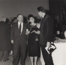 Ida Kar, Victor Musgrave and an unknown man at the opening of Whitechapel Art Gallery exhibition, by Unknown photographer - NPG x134027
