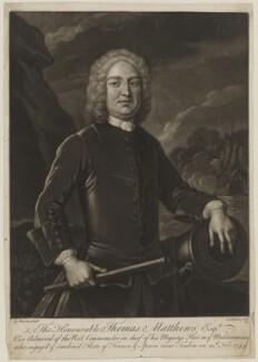 Thomas Mathews, by G. Johanson, possibly after  Antonio Baratta - NPG D38323