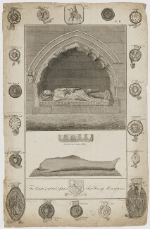 Sir Henry Mavesyn ('The Tomb & Leaden Coffin of Sir Henry Mauveysin'), by Richard Woollett Basire, after  T. Barritt - NPG D38331