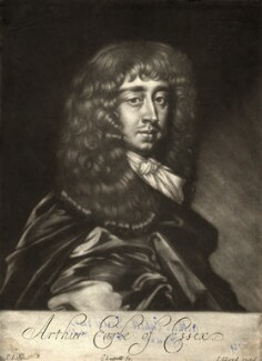 Arthur Capel, 1st Earl of Essex, by Edward Lutterell (Luttrell), published by  John Lloyd, after  Sir Peter Lely, circa 1682 - NPG D10944 - © National Portrait Gallery, London