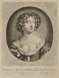 Hortense Mancini, Duchess of Mazarin, by Abraham de Blois, published by  Nicolaes Visscher II, after  Sir Peter Lely - NPG D38349